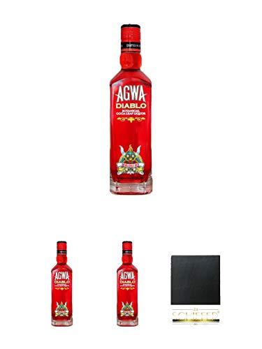 Agwa de Bolivia DIABLO 0,5 Liter + Agwa de Bolivia DIABLO 0,5 Liter + Agwa de Bolivia DIABLO 0,5 Liter + Schiefer Glasuntersetzer eckig ca. 9,5 cm Durchmesser