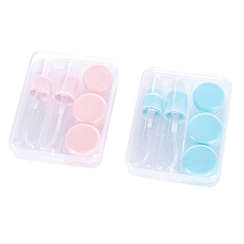 Minkissy 2 Juegos de Botellas de Crema de Embalaje de Viaje Tarros de Crema Loción Exprimible a Prueba de Fugas Champú Artículos de Tocador Envases de Líquido con Palo de Máscara