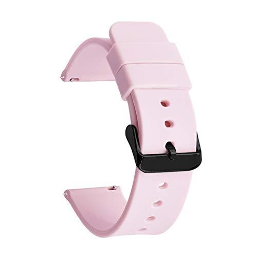 RHBLHQ 14mm 16 mm 18 mm 20 mm 22 mm 24 mm Strap de Banda de Silicona Relojes rápidos Pulsera de Banda de Reloj Correa de Silicona (Band Color : Pink B, Band Width : 22mm)
