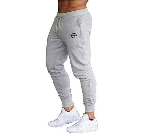 Vanornia Pantaloni Uomo Slim Fitness Casual Pantaloni Sportivi da Corsa Jogging Palestra Allenamento in Cotone con Coulisse Tasche (Grigio, L)