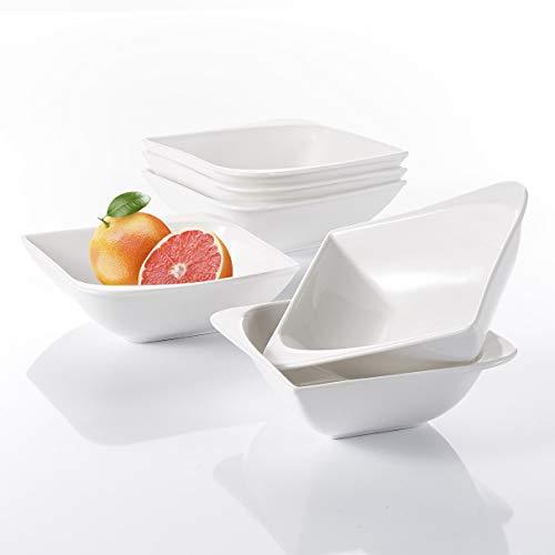 Vancasso Cloris 6-teilig Müslischale aus Porzellan, Weiße Schalen, Durchmesser 14 cm, Müslischüssel, Dessertschale