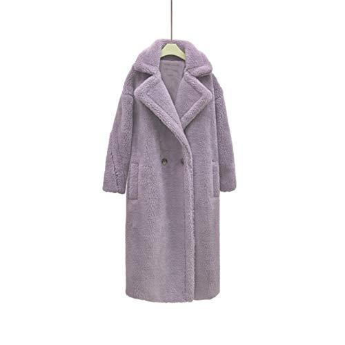 DZHT Pink Long Coat Women Winter Warm Women Faux Fur Coat Ladies 8 Colors Jacket Ladies Outdoor Overcoat (Color : Lavender, Size : X-Large)