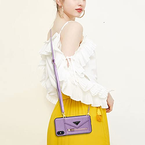 TYWZ Crossbody Hülle für iPhone XS/X,Schultergurt Halsketten Brieftasche Leder Cover Handykette mit Kartenhalter Case mit Kordel zum Umhängen-Lila