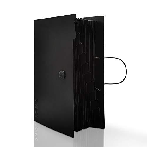 ドキュメントファイル ファイルボックス ?拡張フォルダ 12ポケット ファイル?(A4 大容量 ドキュメントファイル) 書類/ファイル 整理 収納ケース 分類用インデックス付 オフィス用品 出張収納 12枚ラベル付き (ブラック)