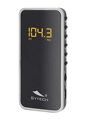Sytech SY-1639 Radio Portátil Pequeña Digital (AM/FM, Batería Recargable, Micro-SD) Color Plata