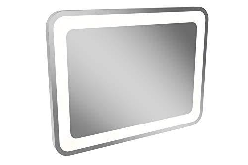 LANZET LED Spiegel M9 / Wandspiegel mit umlaufender LED-Beleuchtung / Maße (B x H x T): ca. 80 x 60 x 4 cm / LED Badspiegel / berührungslose Bedienung durch Sensor / waagrecht + senkrecht nutzbar