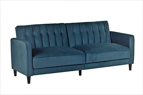 Container Furniture Direct Anastasia Mid Century Modern Velvet Tufted Convertible Sleeper Sofa, 81', Teal Blue
