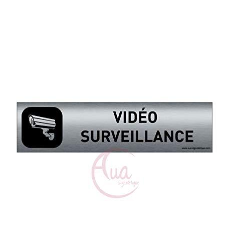AUA SIGNALETIQUE - Plaque Aluminium brossé imprimé AluSign DARK - 200x50 mm - Double Face adhésif au dos (Vidéo surveillance)