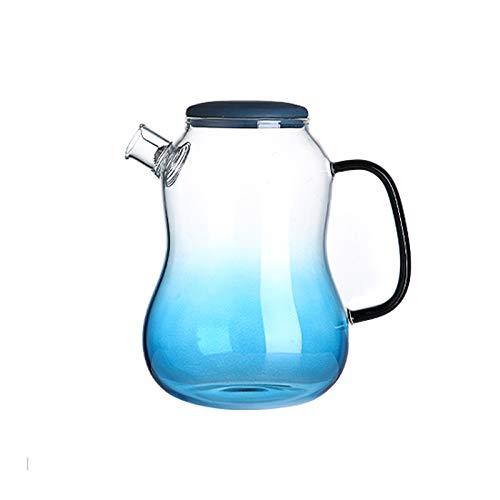 liangzishop Jarra de Agua Cristal Jarra de Vidrio para el hogar con Tetera de Vidrio Anti-escaldado con Filtro de Acero Inoxidable Filtro de Gran diámetro fácil de Limpiar (1400 ml) Jarras de Vidrio