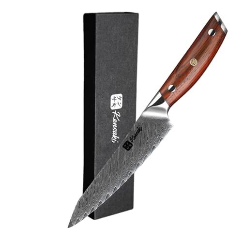Kensaki Allzweckmesser aus Damaszener Stahl Küchenmesser Japanischer Art hergestellt aus 67 Lagen Damaststahl – Chairo Serie, KEN-003