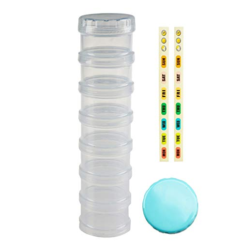 7 Day Pill Organizer Case Stackable Weekly Supplements Vitamins Pills Holder Dispenser Large Clear Transparent with Extra Lid