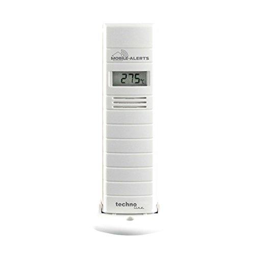 Mobile Alerts Zusatzsensor MA 10200 - Thermo - Hygro-Sensor mit Datenübertragung auf das Smartphone, mit Alexa kompatibel, Temperatur- und Luftfeuchteüberwachung, 9 x 7 x 18 cm