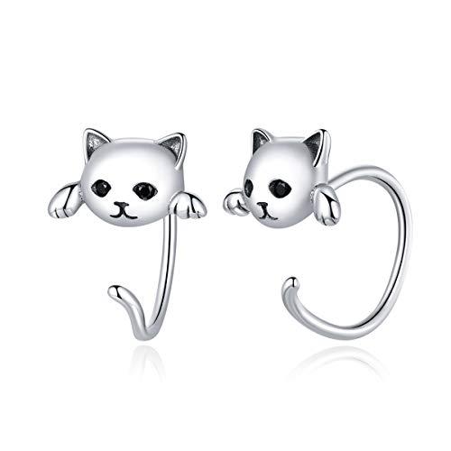 GDDX 925 Plata de Ley Retro lindo moda Fox Cat Animal Stud pendientes joyería para mujeres (pendientes de gato)