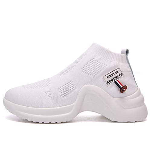 Zapatillas de Deporte de Mujer Moda Malla de Color sólido Zapatillas de Deporte Transpirables de Plataforma Alta Señoras Ligeras de Ocio Calcetines elásticos sin Cordones Zapatos