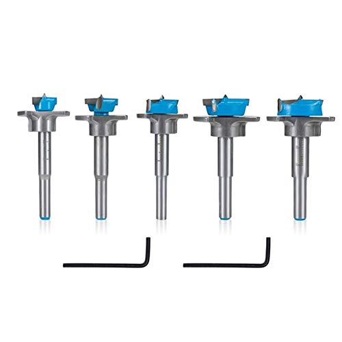SHENYUAN Adjustable Forstner Drill Bit Dia 15 20 25 30 35mm Woodworking Hole Saw Cutter for Power Tools Carbide Drill Bits (Color : 5pcs Set)