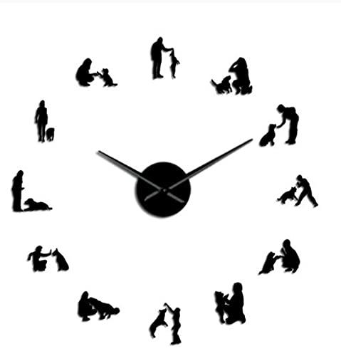 Perros 3D en el Entrenamiento DIY Mujer MUDE Mute Reloj DE Mujer DE Dog Decoración para el hogar DIY Giant GIANTES Reloj DE LA Pared Reloj DE LA PARED-Negro-37 Pulgadas