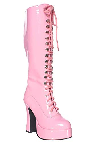 Ellie Shoes Women's Easy 5 Inch Flared Heel Knee High Boots Pink 8