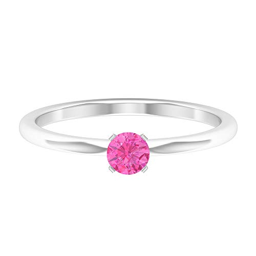 Rosec Jewels 14 quilates oro blanco redonda Pink zafiro sintético rosa