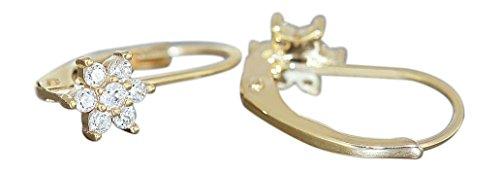 Hobra-Gold Kinder Blumen Ohrhänger Gold 585 Zirkonias Goldohrringe Ohrringe Stern Brisur