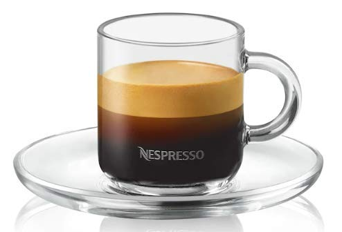 Nespresso vertuo Espresso-Set 2Gläser 2Untertassen 2Teelöffel
