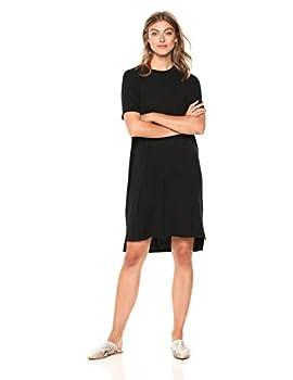 Amazon Brand - Daily Ritual Women s Jersey Short-Sleeve Crewneck Boxy Pocket T-Shirt Dress Black X-Large