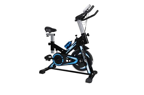 Bicicleta estática Spinning- Bicicletas Spinning para Fitness -Volante Inercia 12 kg,Maximo Peso 120kg,Pantalla LCD con pulsómetro. (AZUL BLUE)