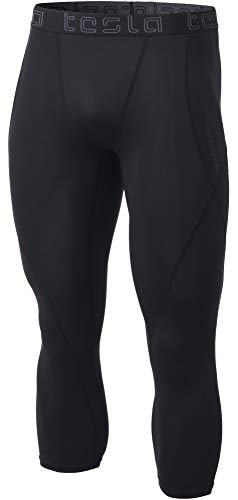 TSLA Men's 3/4 Compression Pants, Running Workout Tights, Cool Dry Capri Athletic Leggings, Yoga Gym Base Layer, Athletic(muc18) - Black, Large