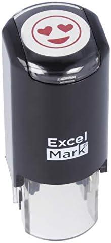 Heart Eyes Smiling Emoji ExcelMark Round Teacher Stamp Red Ink product image