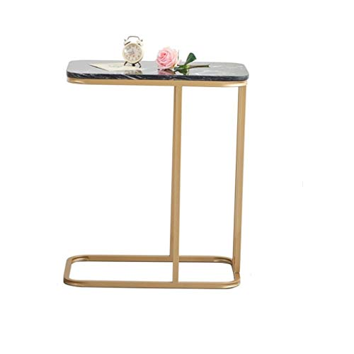 NYKK Kaffeetische Eisen Freizeit Tisch Sofa Couchtisch Nachttisch Notebook Tisch Marmor Arbeitsplatte Moderne Möbel Beistelltisch (Color : Black)
