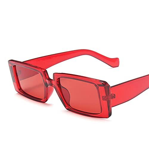 SONGQ Gafas De Sol Rectangulares De Moda Tendencia Color Transparente Gafas De Sombrilla Personalizadas Throughred
