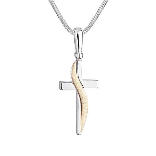LillyMarie Damen Kette Silber 925 Kreuz-Anhänger Vergoldet Längen-verstellbar Hochwertiges Etui aus Holz Geschenk Freundin