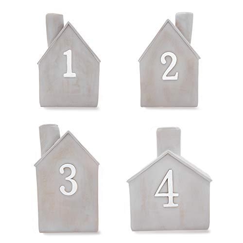 Heitmann Deco Advents-Kerzenhalter - Häuschen - 4er Set - Keramik - zum Hinstellen - Weihnachtsdeko - grau,weiß - ca. 16,5 x 11 x 6,5 cm