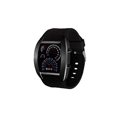 Hotaden Unisex Multi usos del Tablero de Instrumentos Reloj Deportivo Aire Reloj electrónico Digital con Cuero Brazalete del Estilo Simple Ventilador de marcación Forma de Reloj