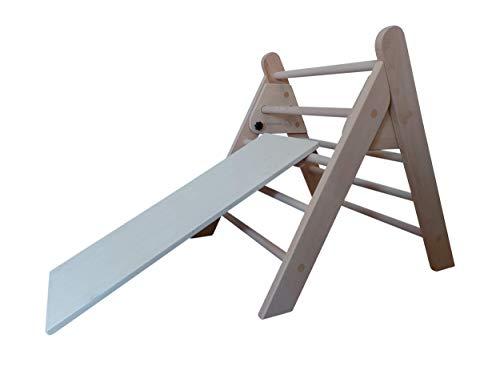 Kletterdreieck Art Pikler, klappbar mit Rutsche / Rutschbrett, incl. Kindersicherung, klappbar, fertig zusammengebaut aus Holz / Buche
