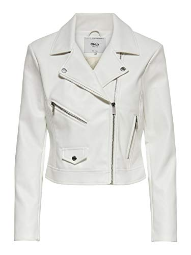 Only ONLENYA Faux Leather Biker CC Otw Giacca in Ecopelle, Ballerino di Nuvola, S Donna