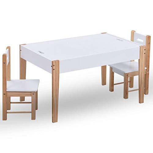 Tidyard Kindersitzgruppe 1 Kindertisch und 2 Stühle, Maltisch für Kinder Kindermöbel Set mit Stauraum, Schwarz und Weiß