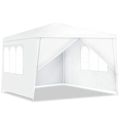 Tangkula 10'x10' Canopy Tent, Party Wedding BBQ Tent, Heavy Duty Gazebo Shelter Pavilion Cater w/4 Removable Sidewalls, Outdoor Event Tents for Backyard