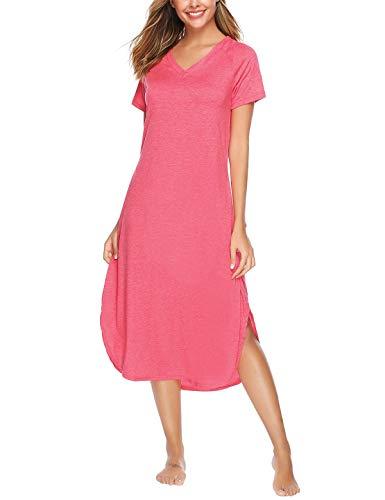 Abollria Camisón Mujer Algodon Verano,Camisones Casual Manga Corta Vestido Informal Cuello en V Tallas Grandes Ropa de Dormir