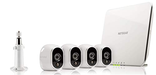 Arlo HD Überwachungskamera & Alarmanlage, 4er Set, Smart Home, kabellos, Innen/Außen, Nachtsicht, WLAN, wetterfest, Bewegungsmelder, (VMS3430) - Weiß