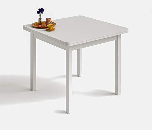 Hogar24.ES Table carrée multi-usages pour salle à manger ou cuisine dimensions 90 cm x 90 cm rallonges 180 cm x 90 cm Blanc