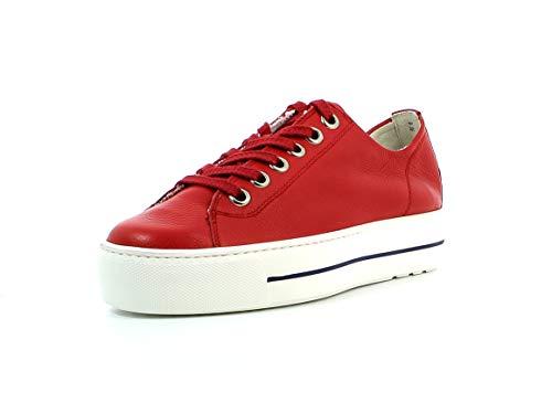 Paul Green Damen Sneaker 4790, Frauen Low-Top Sneaker, Halbschuh strassenschuh schnürer schnürschuh sportschuh Plateau-Sohle,RED,39 EU / 6 UK