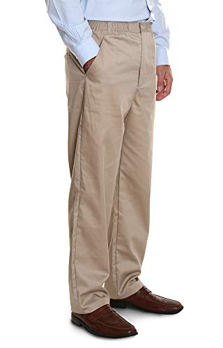 Pembrook Men's Elastic Waist Casual Pants Twill Pants with Zipper and Button - M - Tan
