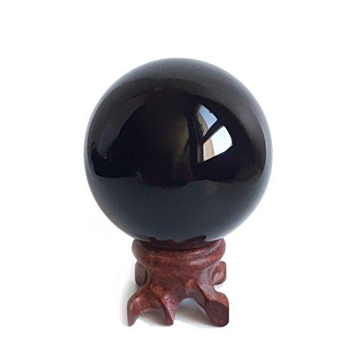 Mina Heal Boule de Cristal d'Obsidienne (5,6cm) pour FENGSHUI Boule, méditation, Cristal, DE Guérison Divinatoire Sphere, décoration de la Maison, 100% Naturel et Authentique