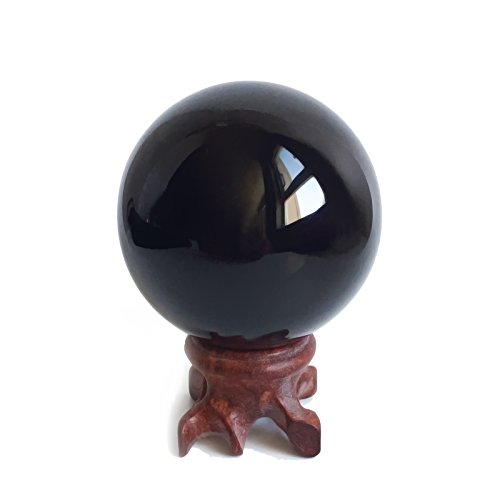 Obsidian-Kristallkugel (5,6cm) für Fengshui, Meditation, Steinheilkunde, Wahrsager-Kugel, Innendekoration, 100% natürlich & echt