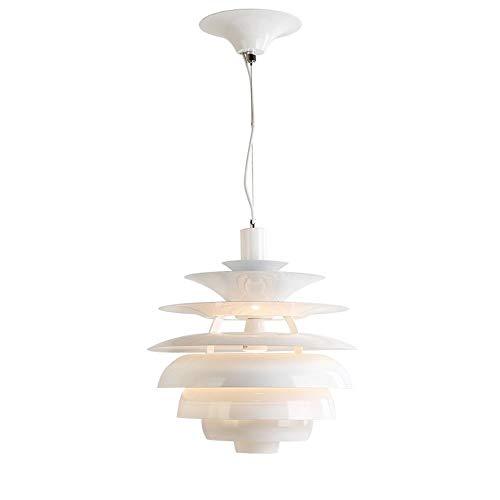 GFDFD Lámpara Colgante clásica de Techo con Tambor Blanco Sombra-Sala de Estar Mesa de Comedor Porche 40 * 46 cm