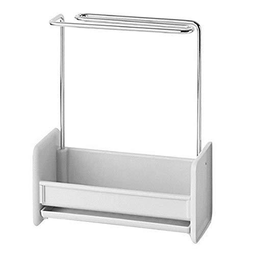 HSC Eisen-Gestell zum Stanzen von Küchenspüle, Schwamm, Ablaufgarnitur, Küchenspüle, Mesa-Reinigungstuch, Aufbewahrungsregal grau
