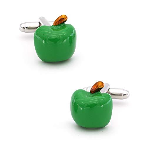 SHAOWU Apple Manschettenknöpfe für Männer Obst Design Qualität Messing Material Grüne Farbe Manschettenknöpfe