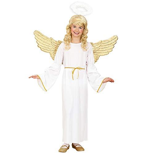 Widmann 02547 - Engel Kostüm (Kleid, Gürtel, Heiligenschein), Größe 140, 8-10 Jahre, Engelskostüm, Engelkostüm für Kinder