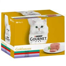 PURINA Gourmet Mousse Pack 24, Conejo/Buey/Ternera/Cordero