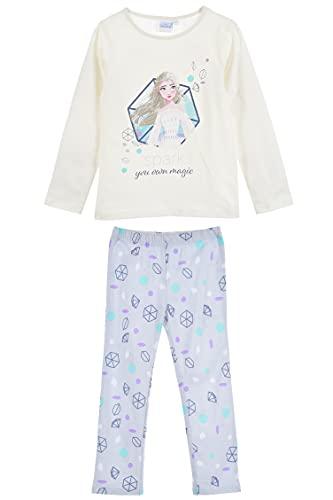 Disney Eiskönigin Schlafanzug Pyjama Langarm Mädchen (Weiss 2, 128)